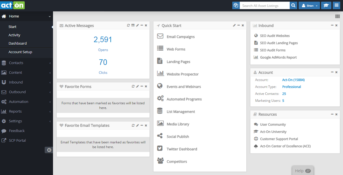 Act-On Marketing Dashboard Screenshot