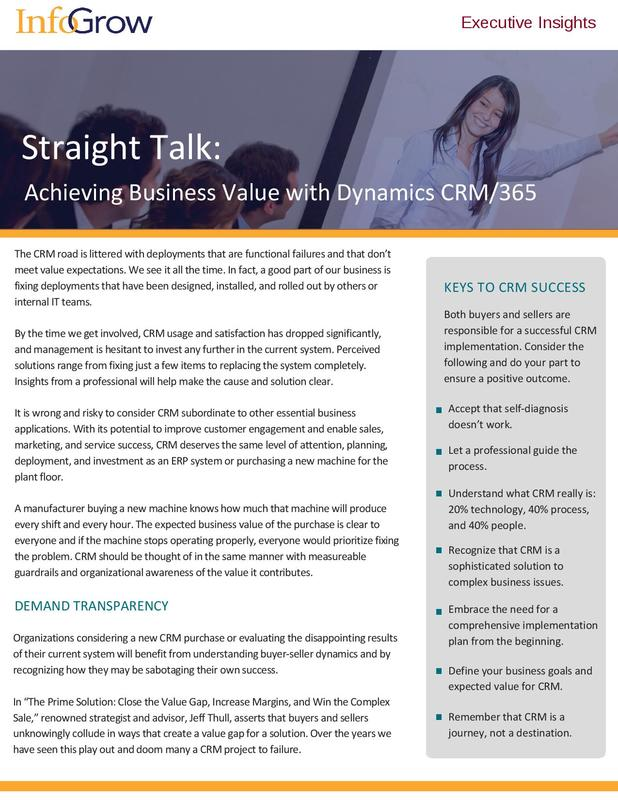 Achieving Business Value with Dynamics CRM Whitepaper