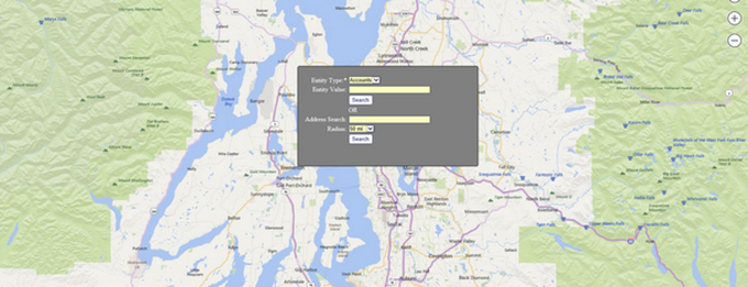 Dynamics CRM SmartMap Search Screen